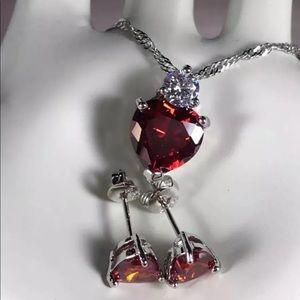 Red Heart Matching Pierced Earrings & Pendant Set